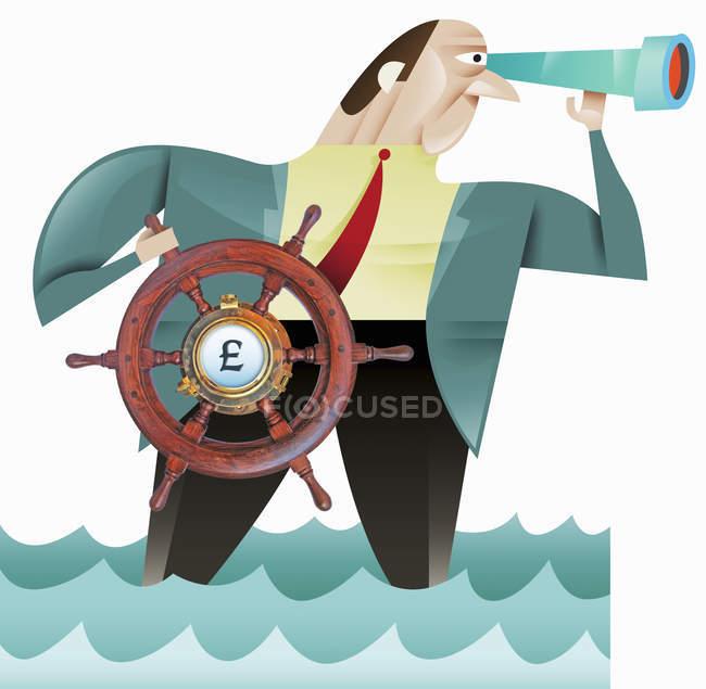 Businessman using steering wheel with British pound symbol — Stock Photo