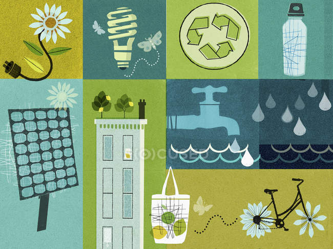 Environment and sustainability collage — Stock Photo