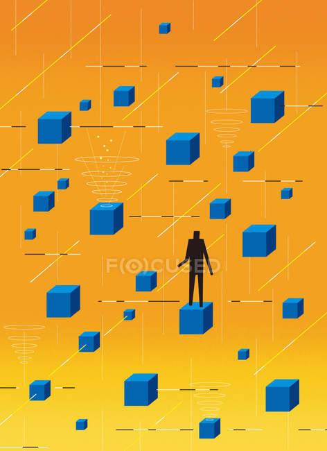 Figura em pé no cubo flutuante — Fotografia de Stock