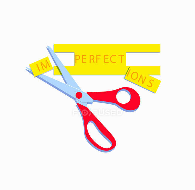 Scissors changing imperfections to perfect — Stock Photo