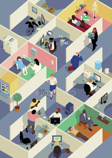 Office cubicles with ill and working people — Stock Photo