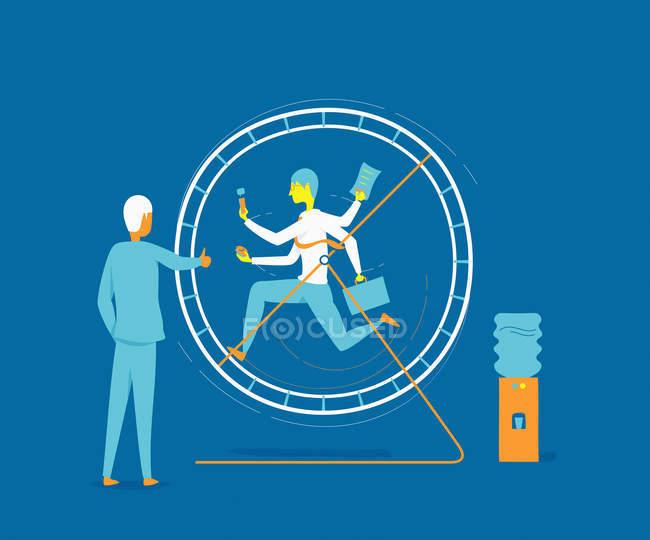 Бізнесмен працює в колесо спостереження за бізнеследі — стокове фото