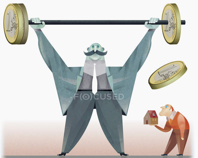 Strong man raising barbell with euro coins for weights — Stock Photo