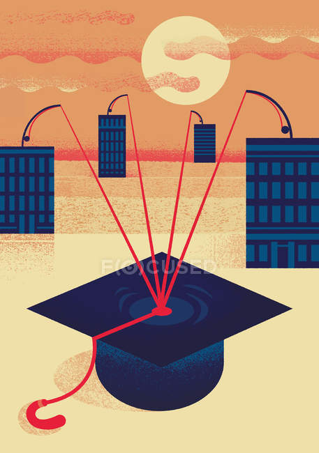 High-rise buildings trying to catch mortarboard — Stock Photo