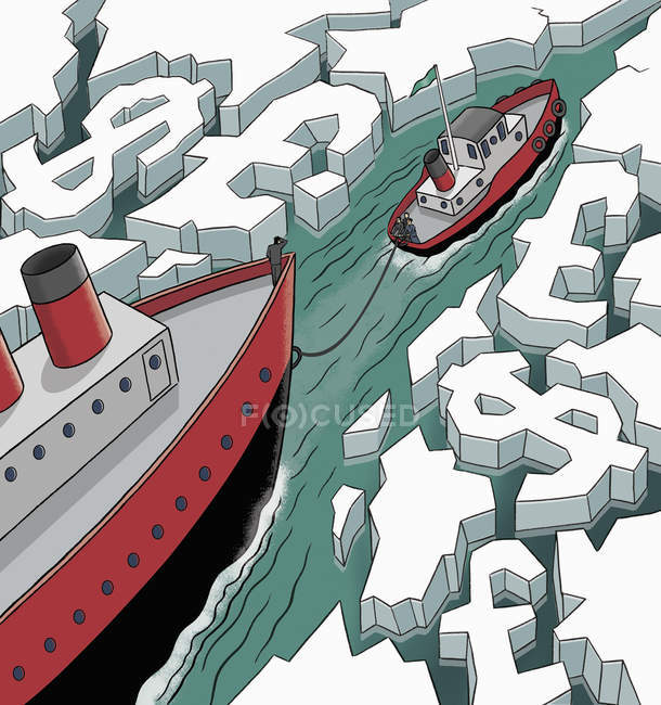 Business people on icebreaker leading through dollar and pound waterway — Stock Photo