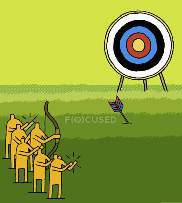 Мужчины стреляют по цели — стоковое фото