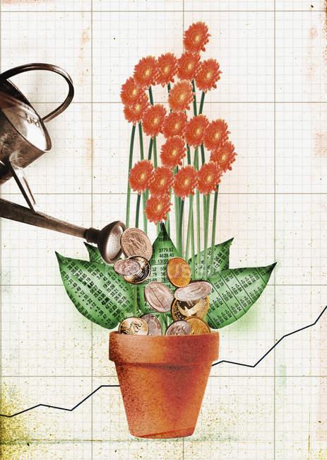 Monedas y flor de dinero - foto de stock