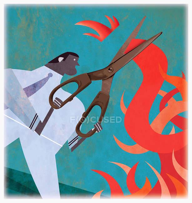 Empresario cortando hilo rojo — Stock Photo