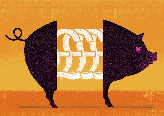 Британский фунт символы в середине свиньи — стоковое фото