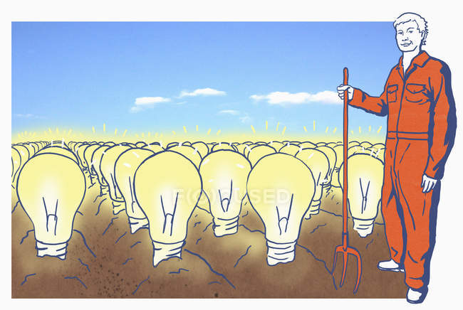 Farmer on field with lightbulbs — Stock Photo
