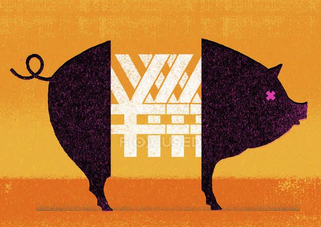 Символы иены посреди свиньи — стоковое фото