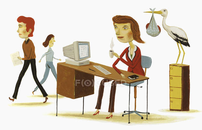 Stork with baby next to businesswoman at desk — Stock Photo