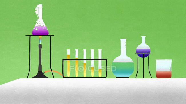 Різні хімічні речовини в лабораторних умовах — стокове фото