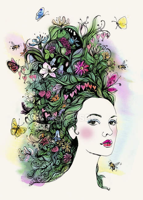 Portrait of beautiful woman with butterflies and flowers in hair — Stock Photo