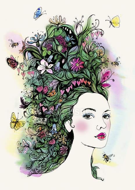Retrato de mujer hermosa con mariposas y flores en el pelo - foto de stock