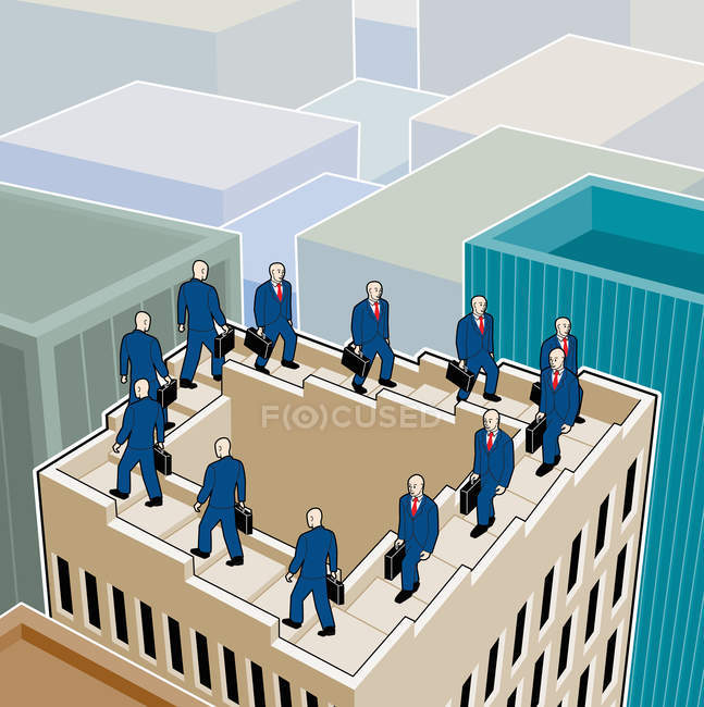 Businessmen walking up and down on stairs on rooftop — Stock Photo