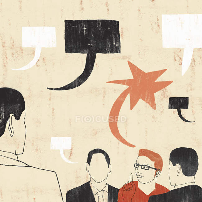 Creative professional talking with uniform businessmen — Stock Photo