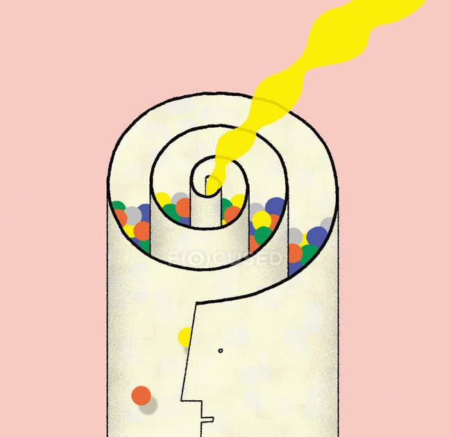 Дим формується форму згорнуті папери заповнені барвисті кульки — стокове фото