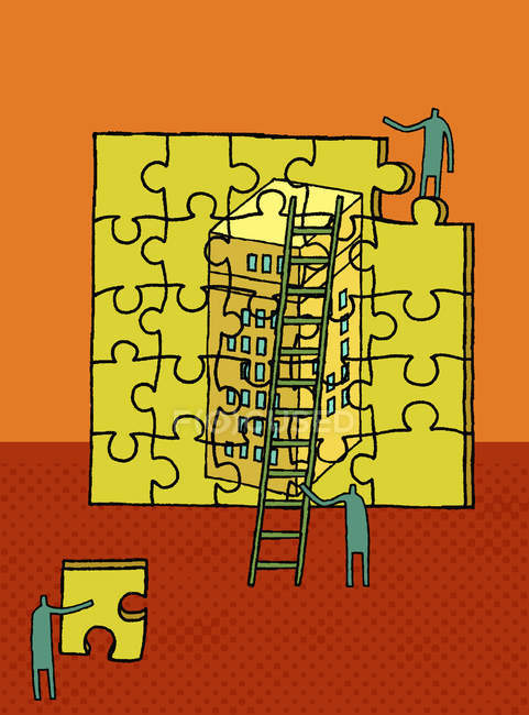 Workers building highrise puzzle — Stock Photo