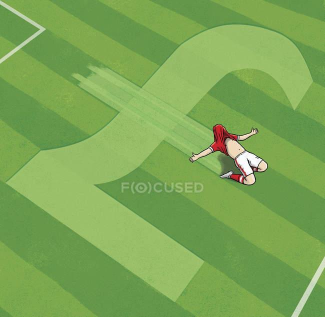 Jogador de futebol cheering no símbolo britânico da libra — Fotografia de Stock