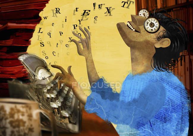 Счастливый человек с часами, пишущий на машинке — стоковое фото