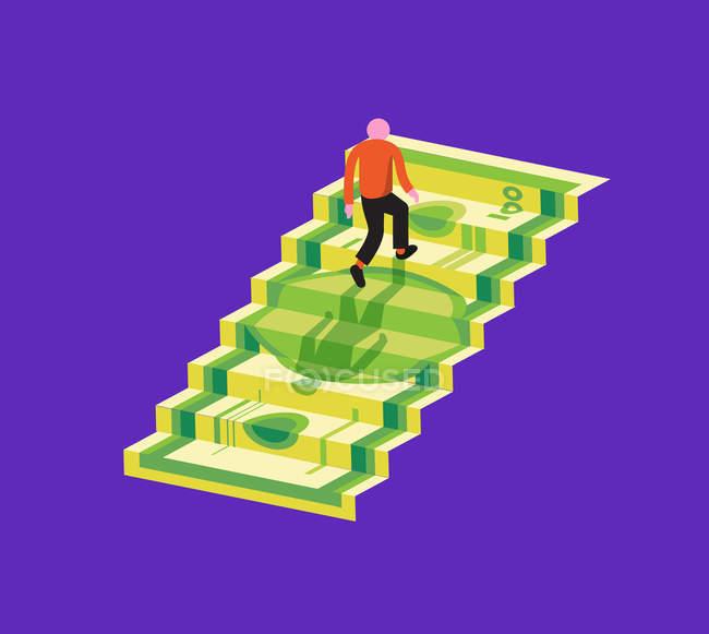 Особа, що ходить нагорі на банкноті — стокове фото