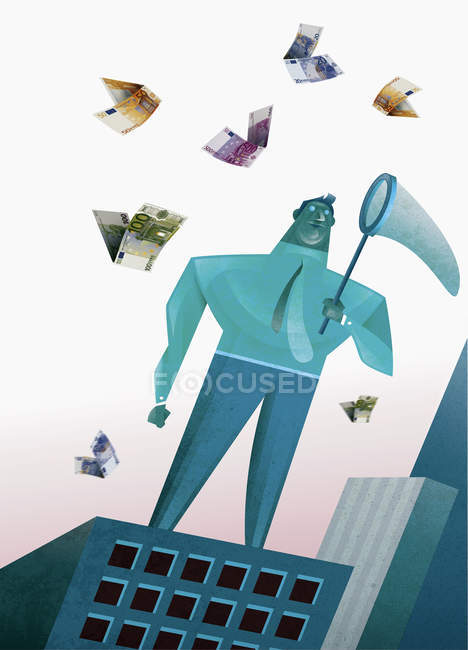 Businessman trying to catch money butterflies with net — Stock Photo