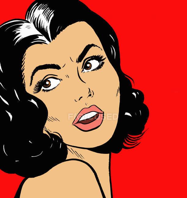Primo piano di donna con viso frustrato — Foto stock