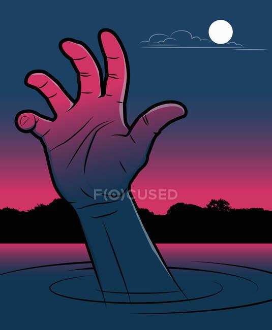Рука человека, тонущего в озере ночью — стоковое фото
