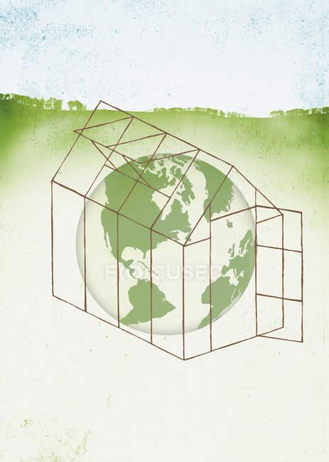 Globo en invernadero sobre fondo verde - foto de stock