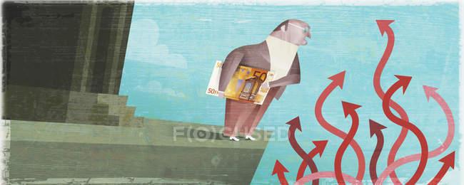 Бізнесмен тримає гроші біля плутати стріли — стокове фото