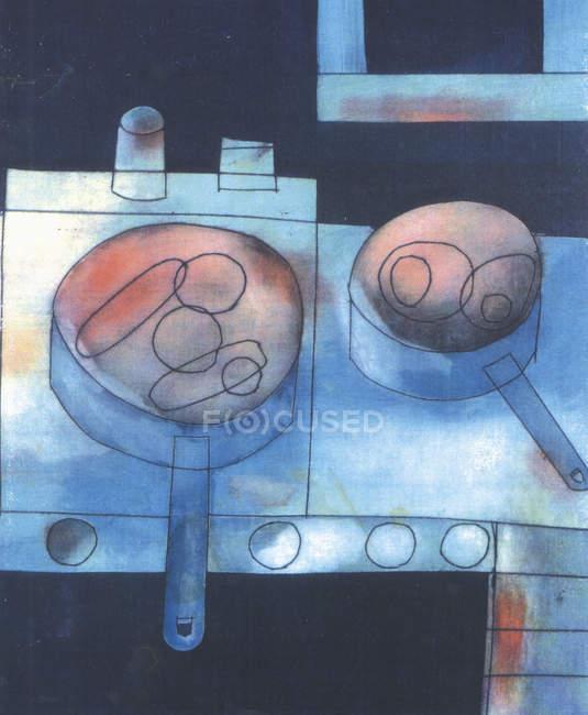 Сковороди на плиті — стокове фото
