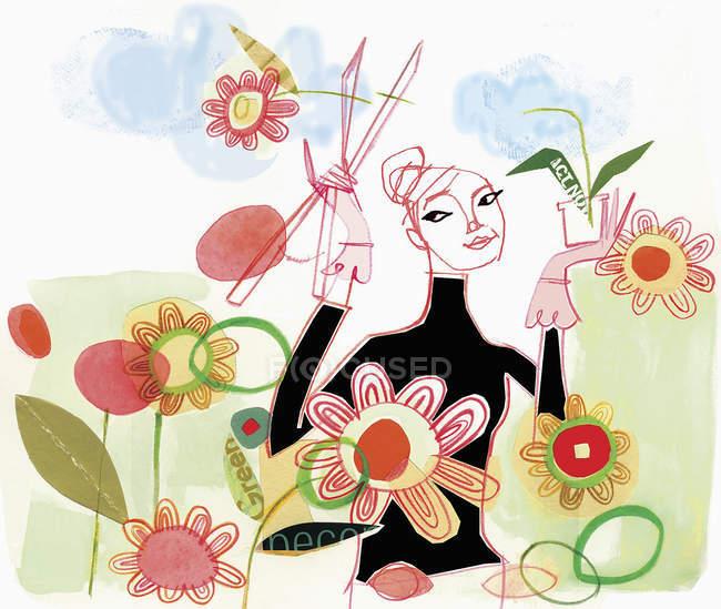 Mulher confiante jardinagem e flores de corte — Fotografia de Stock