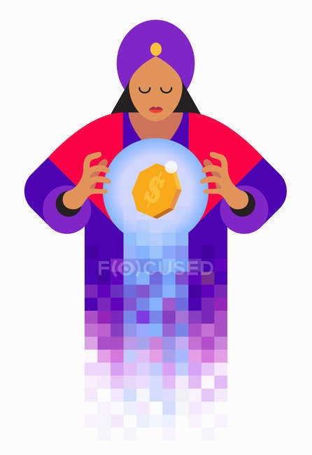 Фортуна касговоритдер глядя в хрустальный шар с знаком доллара — стоковое фото