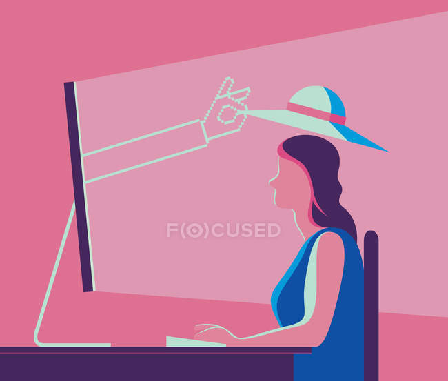 Hand emerging from computer screen putting hat on woman head — Stock Photo