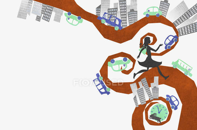 Woman running on street in abstract city — Stock Photo