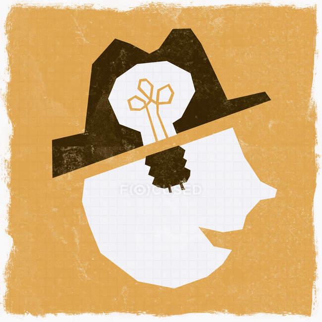 Ampoule dans la tête d'homme — Photo de stock