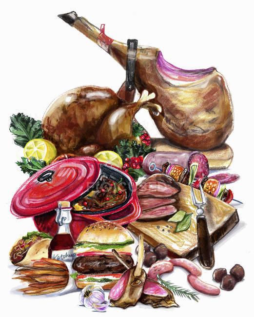 Variazione della carne su fondo bianco — Foto stock