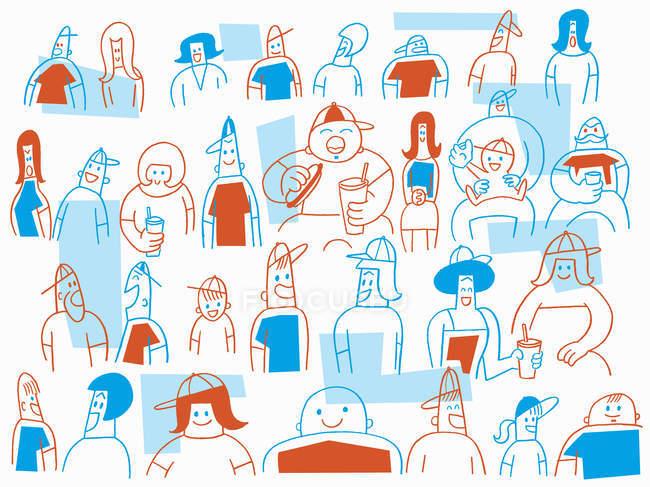 Толпа молодых людей, общаются — стоковое фото