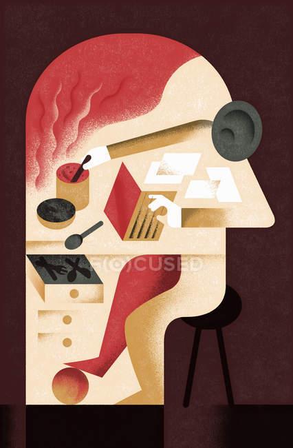 Различные виды деятельности внутри головы человека — стоковое фото