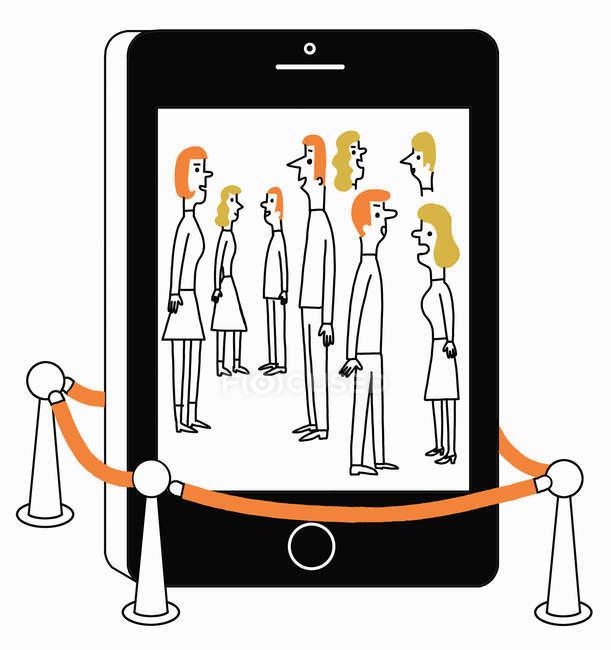 Pessoas atrás da fita adesiva falando na tela do telefone celular — Fotografia de Stock