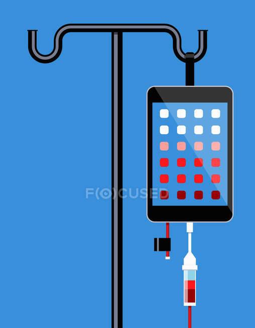 Smartphone colgando de goteo IV - foto de stock