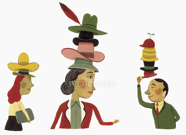 Business people wearing many hats — Stock Photo