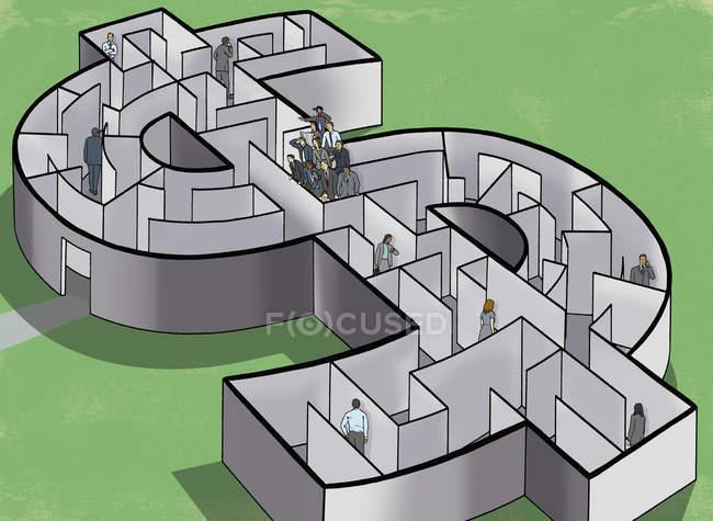 Gens d'affaires dans le labyrinthe de dollar avec la solution de recherche d'équipe — Photo de stock