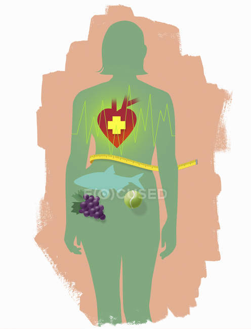 Health, nutrition and sports symbols inside woman outline — Stock Photo
