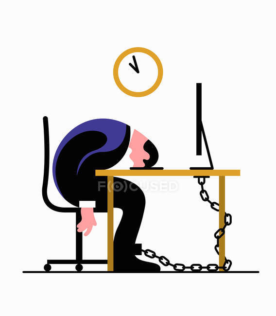 Homem de negócios esgotado acorrentado à mesa, dormindo — Fotografia de Stock