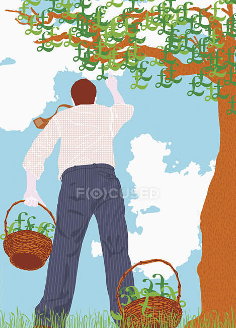 Man picking pound signs from tree — Stock Photo
