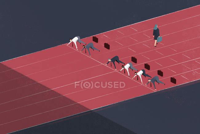 Бизнесмен покидает ипподром позади бизнесменов в стартовой позиции — стоковое фото
