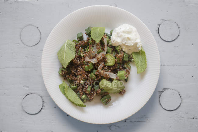 Табуле салат з Червоної Кіноа з м'ятою і цукіні, вид зверху. — стокове фото