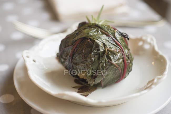 Рулетик з капусти з трав і гречки на тарілці. — стокове фото